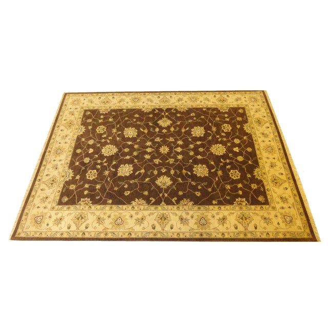 "Brown & Tan Floral Zeigler Rug - 9'2' x 12'5"" - Image 1 of 4"
