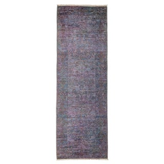 New Purple Over-Dyed Rug - 2′10″ × 8′3″