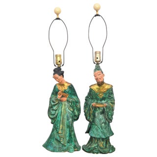 Emerald Chinoiserie Lamps - Pair