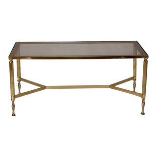 French Brass & Smoked Glass Cocktail Table