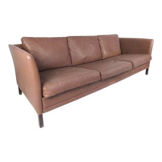 Dunflex Scandinavian Modern Leather Sofa