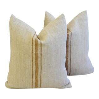 Custom French Homespun Textile Feather/Down Pillows - A Pair