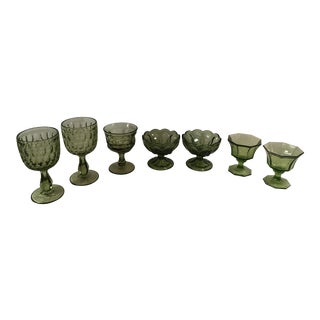 Mid-Century Modern Green Goblets - Set of 7