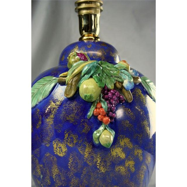Italian Majolica Hand-Painted Blue Table Lamp - Image 4 of 8