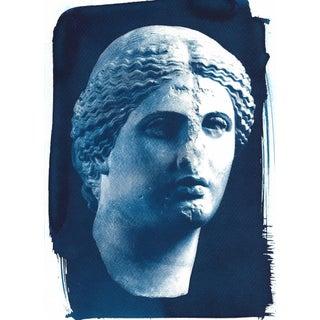 Roman Woman Bust Sculpture, Cyanotype Print