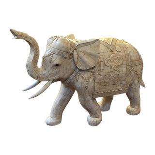 Unique Bone Mosaic Elephant Sculpture