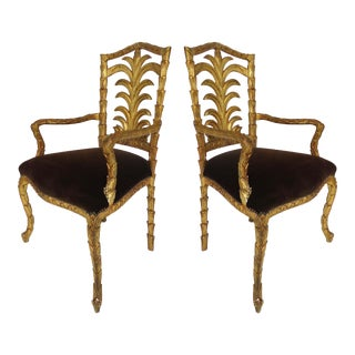 Ornate Carved Gilt-Wood Armchairs - Pair