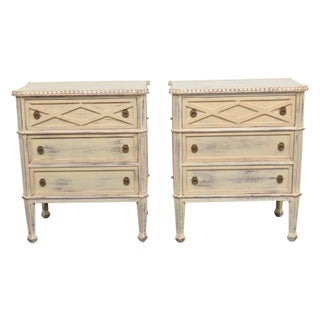 Louis XVI Style Cream Painted 3 Drawer Chests - a Pair