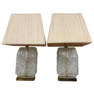 Mid-Century Glass & Brass Table Lamps - A Pair