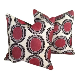 Lee Jofa Red, Black & White Pillow Covers - a Pair
