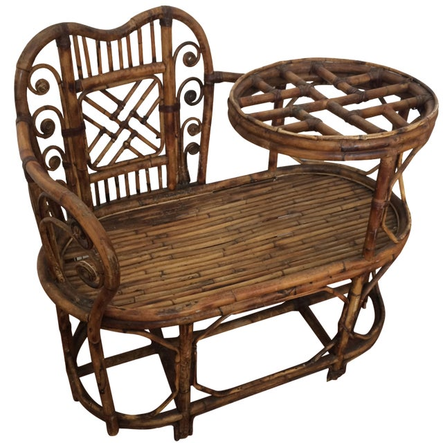 Vintage Bamboo Rattan Gossip Bench Chairish