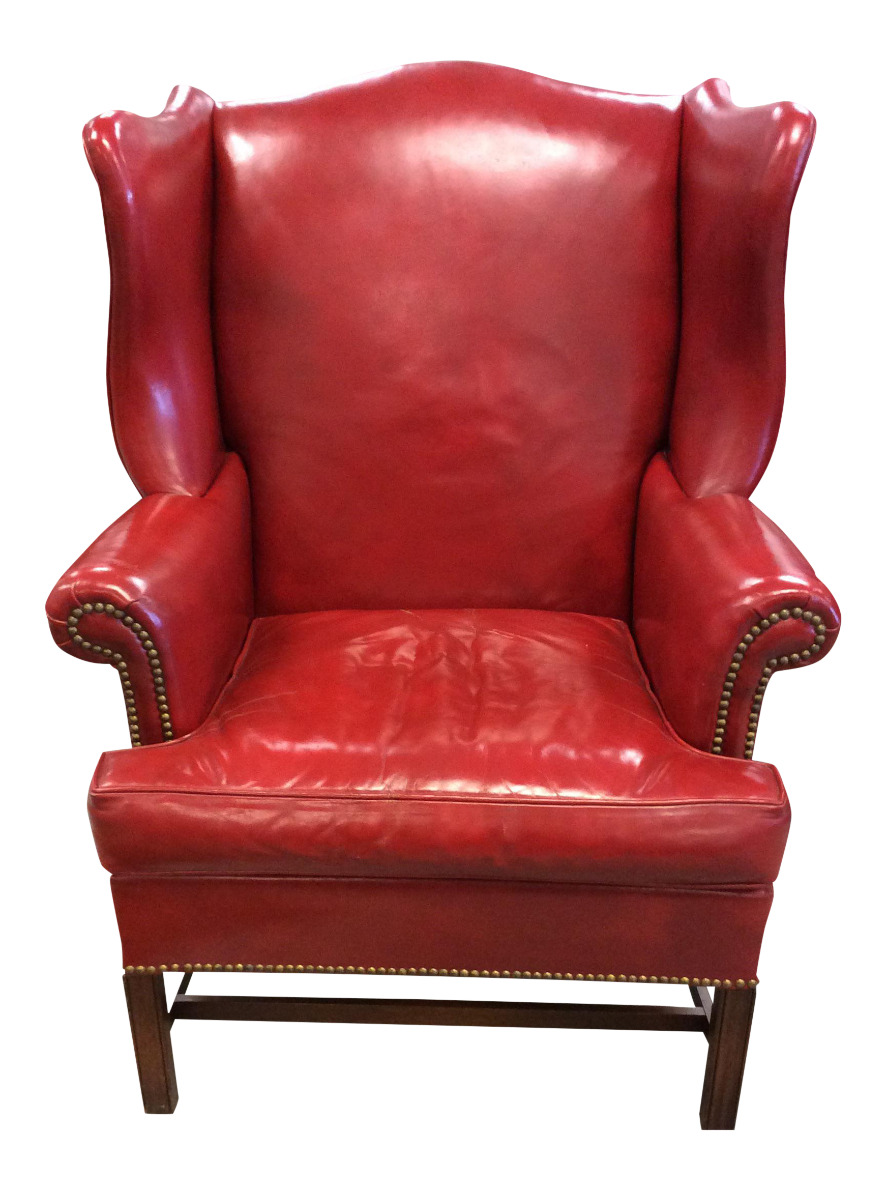 hickory chair company red leather wing chair