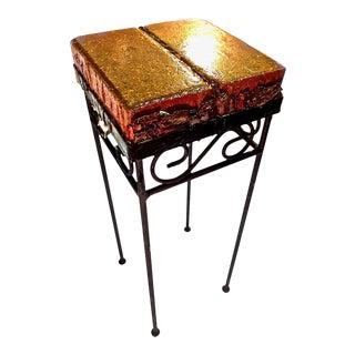 Handmade Brick & Bark Wrought Iron Side Table