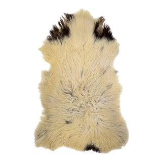"Mediterranean Long White & Black Wool Genuine Sheepskin Pelt Soft Throw - 2'10"" X 4'7"""