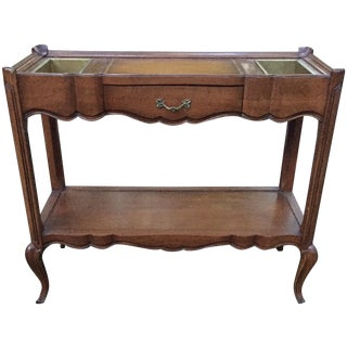Vintage French Leather Top Console Bar