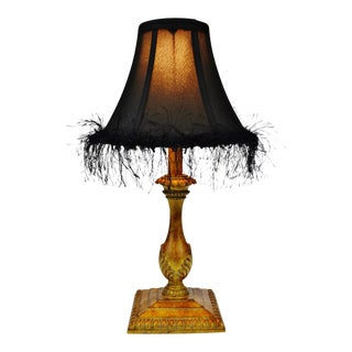 Candlestick Style Table Lamp with Black Fringe Lamp Shade