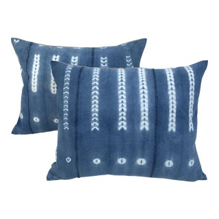 African Handwoven Indigo Faded Tye-Dye Pillows - a Pair