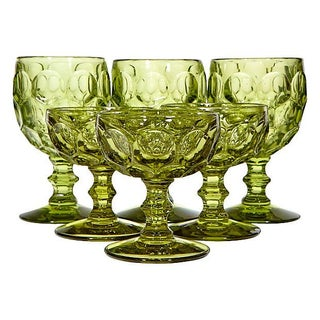 1960's Verde Glass Thumbprint Goblets - Set of 6