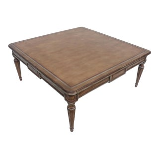 Italian Antique Hand Carved Wood Square Coffee Table