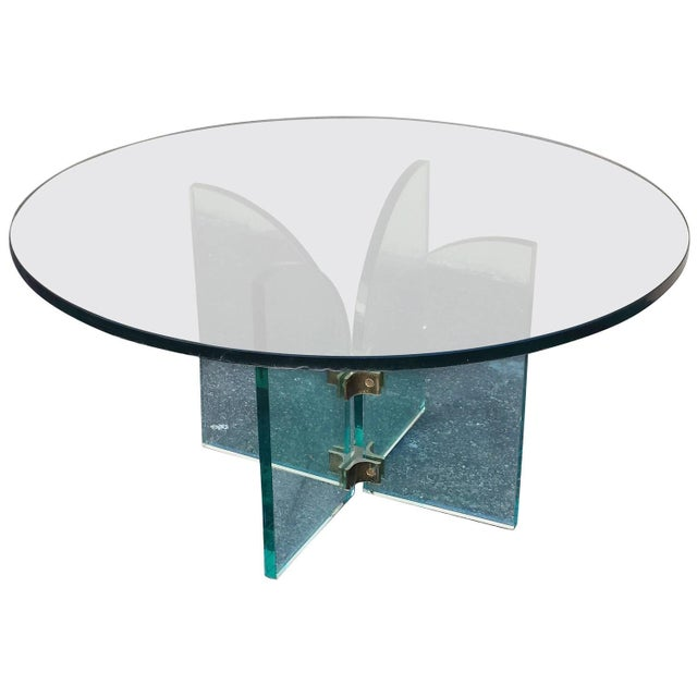 Mid-Century Modern Style Round Glass Coffee Table