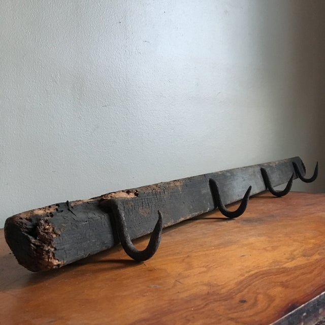 Industrial Wooden Beam & Iron Hooks - Image 3 of 8