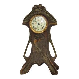 Art Nouveau Polychrome Bronze Case Clock