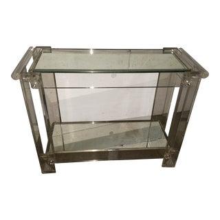 Mid-Century Modern Lucite Mirrored Shelves Bar Cart