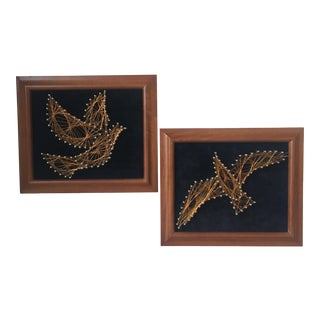 Copper Wire Bird Artwork - A Pair
