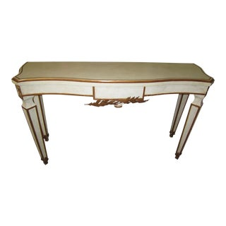 Antique White & Gold Accented Console Table