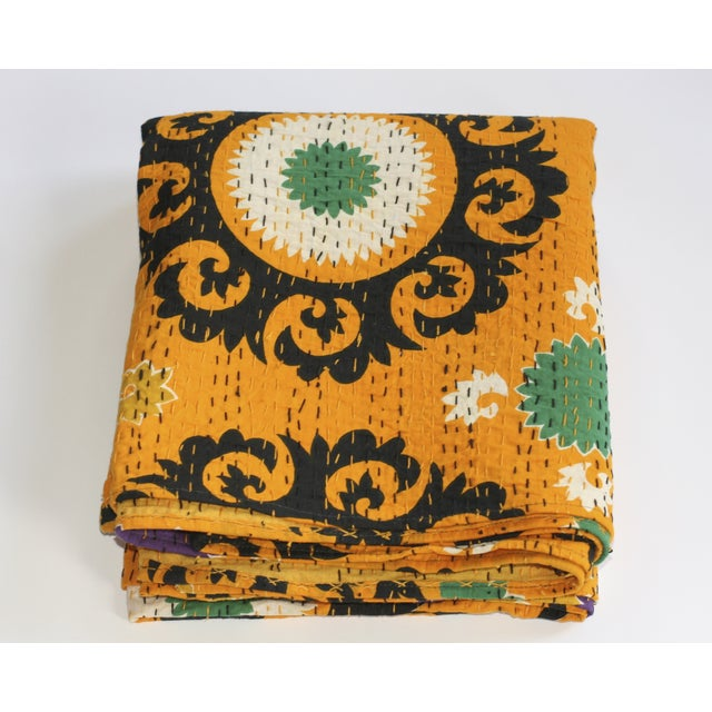 Yellow Kantha Suzani Throw - A Full - Image 2 of 4