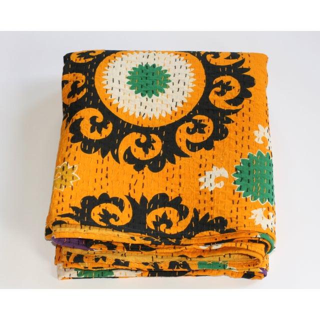 Image of Yellow Kantha Suzani Throw - A Full