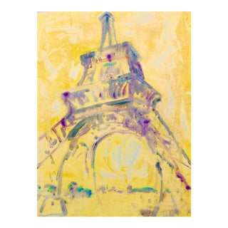 Sunlight on the Eiffel Tower in Paris Monotype Painting