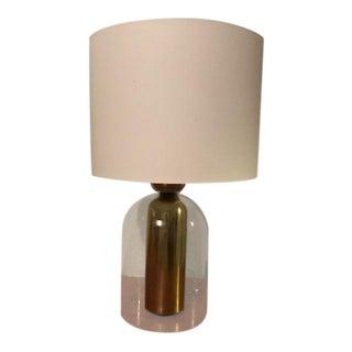 CB2 Bell Jar Glass and Brass Lamp