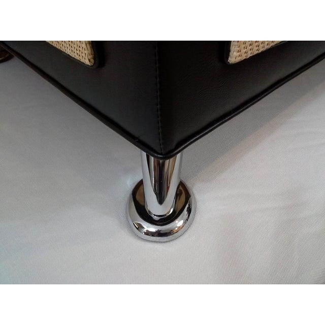 Selina Italian Black Leather & Chrome Ottoman - Image 6 of 6