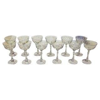 Cut Crystal Wine Glasses - Set of 11 +2
