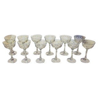 Cut Crystal Wine Glasses - Set of 11 +2