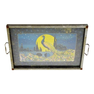 Art Deco Metal Framed Peacock Design Serving Tray