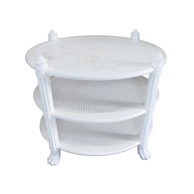 White Ficks Reed Side Tables, Pair - Image 2 of 5