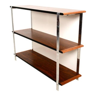 Custom-Made Bookcase in Aluminum and Walnut