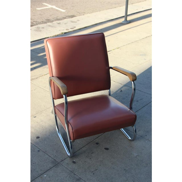 Postmodern Deco Style Chrome Lounge Chair in Mauve - Image 7 of 9