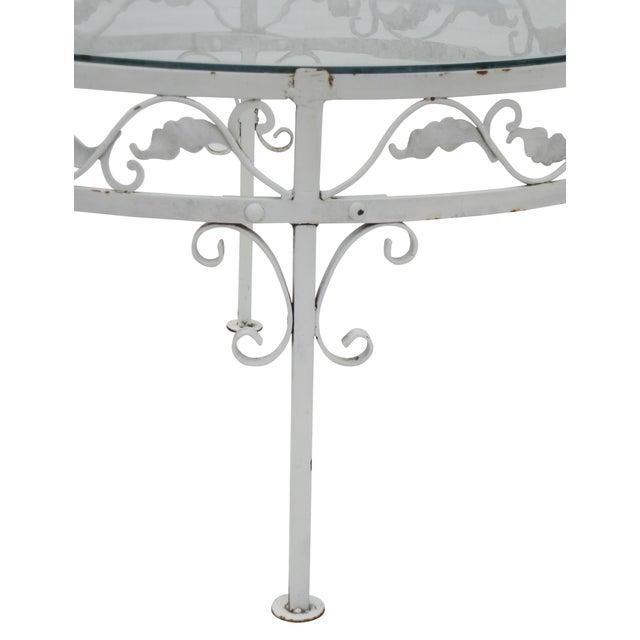 Woodard Round White Iron Patio Coffee Table - Image 2 of 7