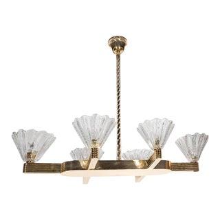 Elegant 1940s Handblown Murano Glass Chandelier by Barovier & Toso