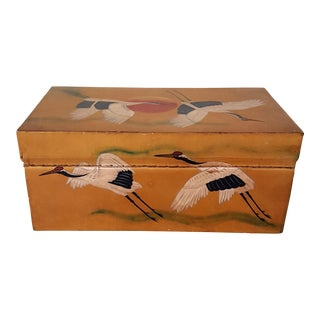 Japanese Hand Painted Leather Box with Red Cap Cranes