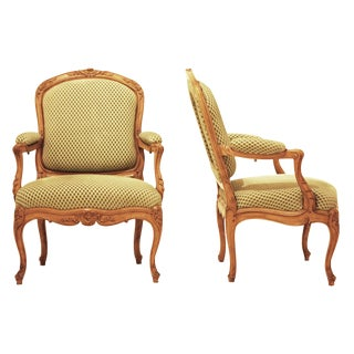 Pair of French Louis XV Style Beechwood Fauteuils
