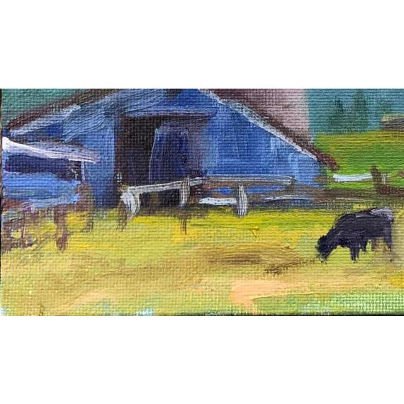 """Petaluma Blue Barn & Cow"" Painting - Image 7 of 11"