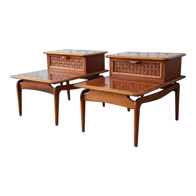 Mid-Century Lane Step End Tables - a Pair - Image 1 of 10