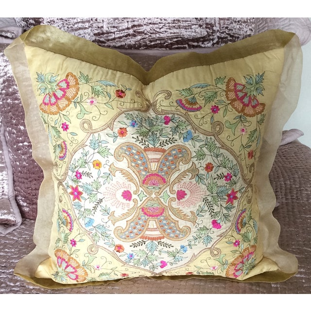 Image of Silk Embroidered Pillow Cover