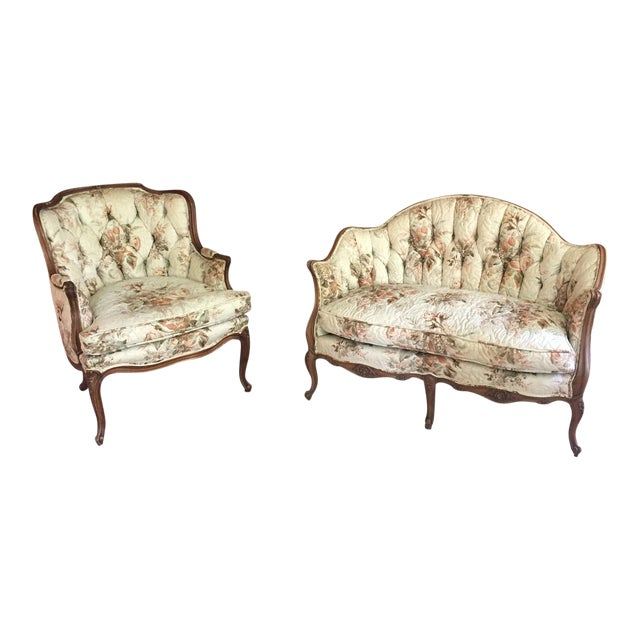 French Country Louis XV Style Carved Walnut Silk Settee & Chair - A Pair - Image 1 of 11