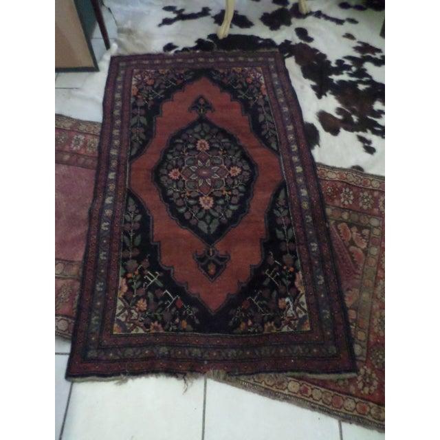 "Image of Antique Dark Red Persian Rug - 3' x 5'2"""