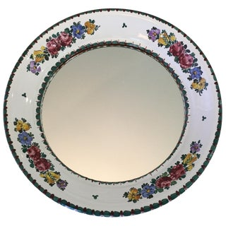 Hand-Painted Ceramic Floral Mirror